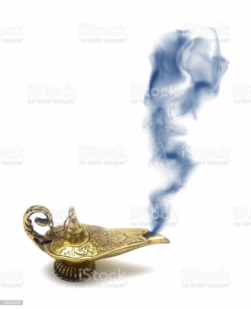 Smoking Genie Lamp stock photo