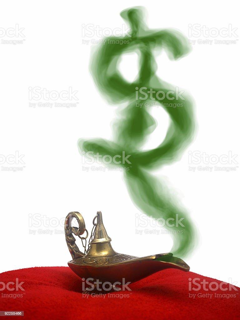 Smoking Genie Lamp royalty-free stock photo