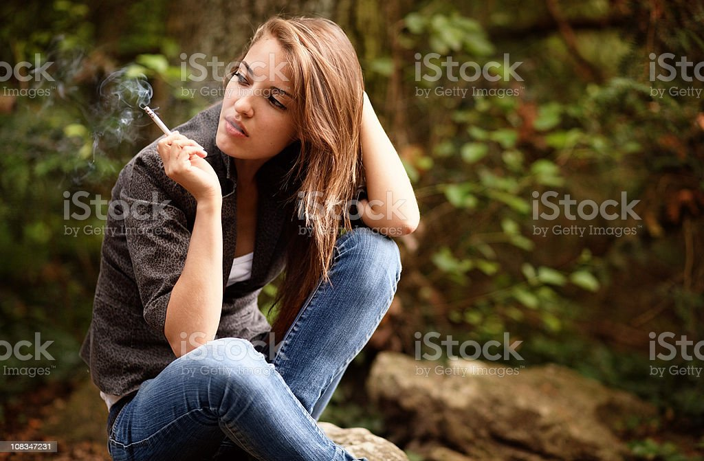 smoking girl royalty-free stock photo