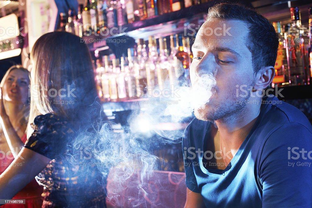 Smoking hookah stock photo