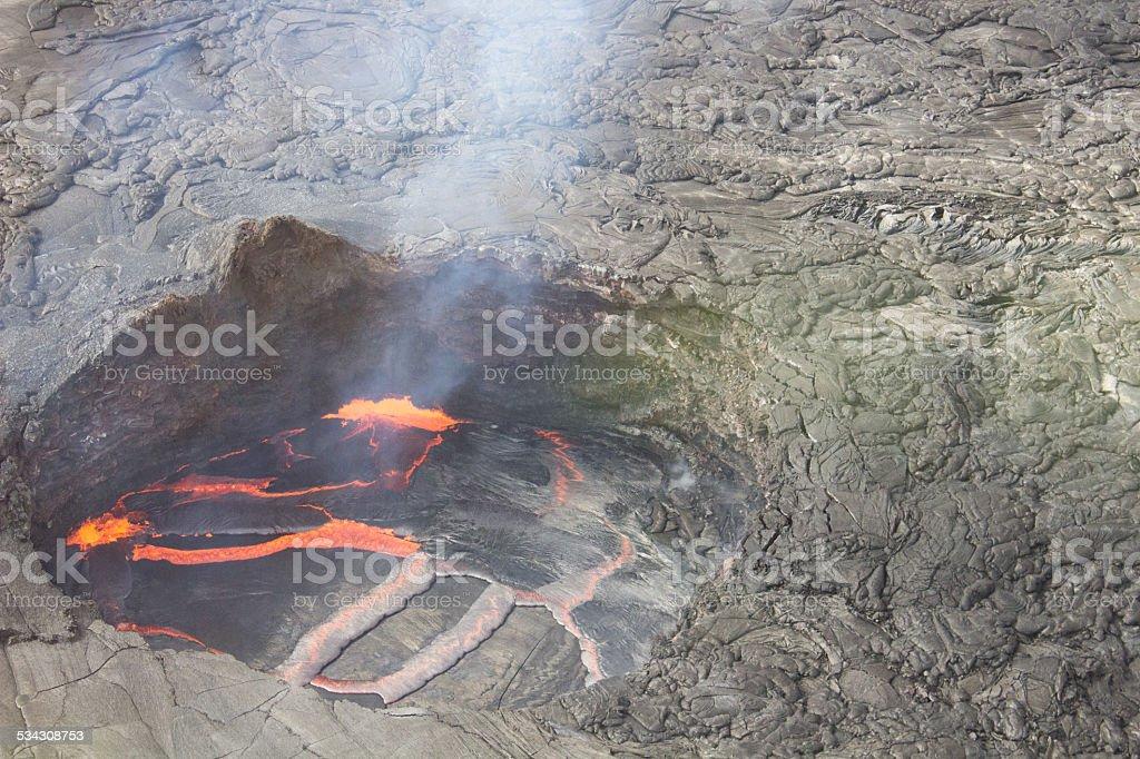 Smoking Hot Volcanic Hawaiian Lava Pool stock photo