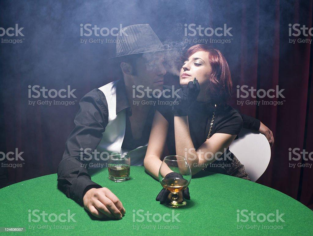 Smoking in a nightclub royalty-free stock photo