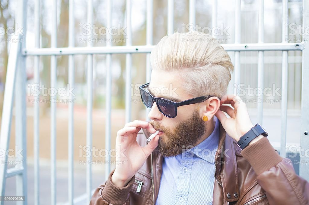 Smoking in public stock photo