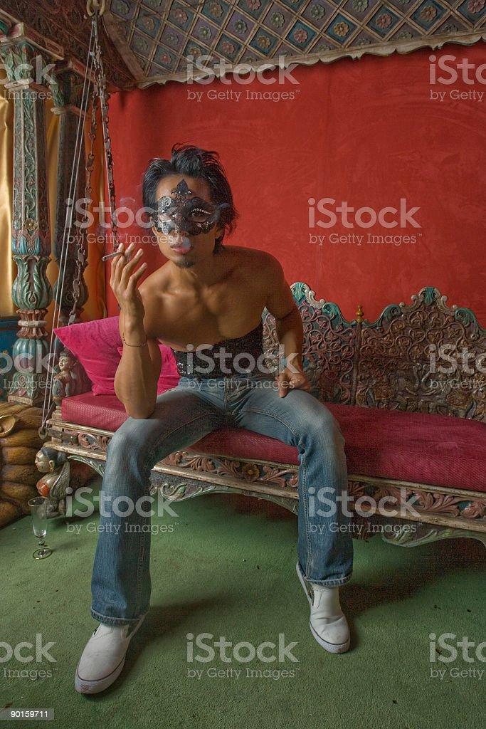 Smoking indoors royalty-free stock photo