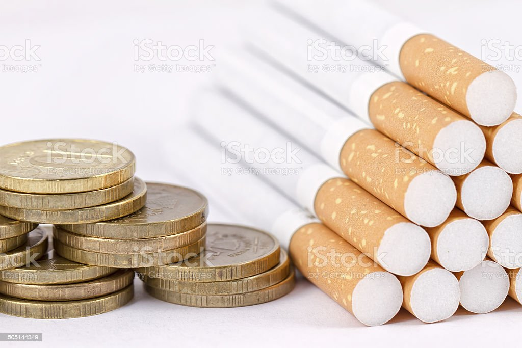 Smoking is a waste of money stock photo