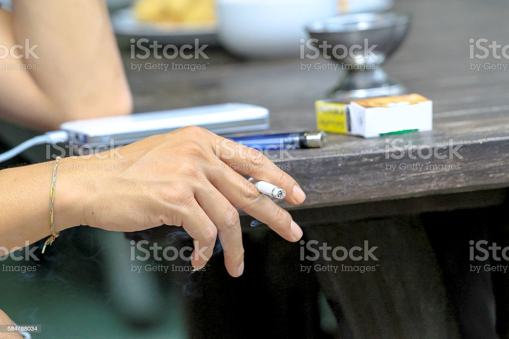 Smoking is injurious to health,hand with cigarette stock photo