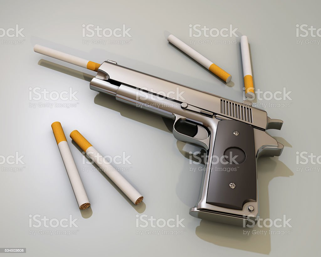 smoking kills, gun and cigarette, 3d rendering stock photo