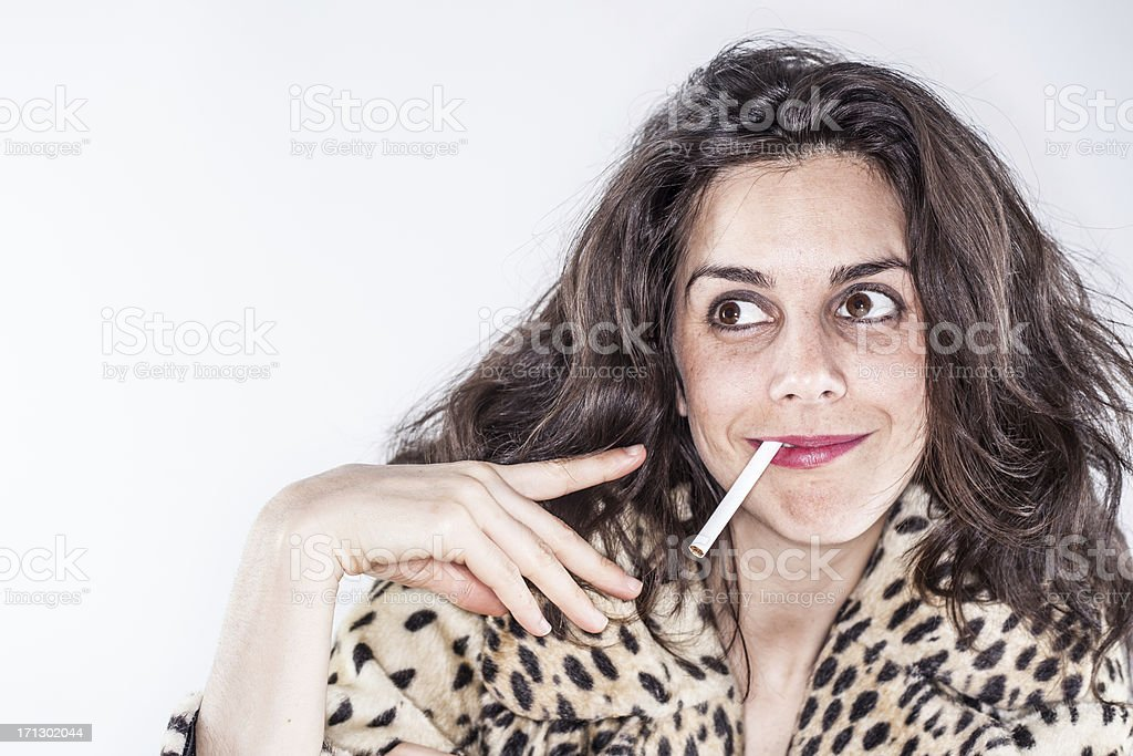 smoking Long Haired Woman Smiling Leopard Print Jacket White Background stock photo