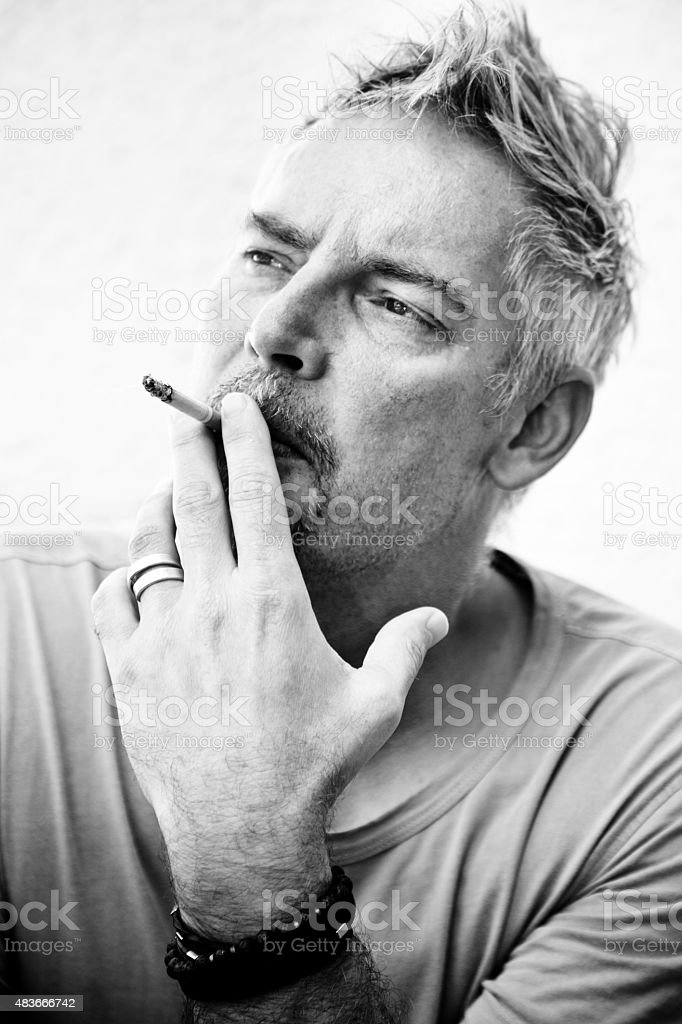 smoking man serie stock photo