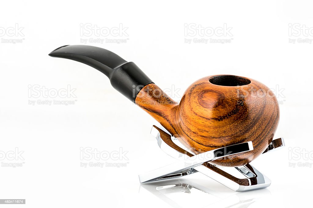 smoking pipe isolated on white background, with space for text stock photo