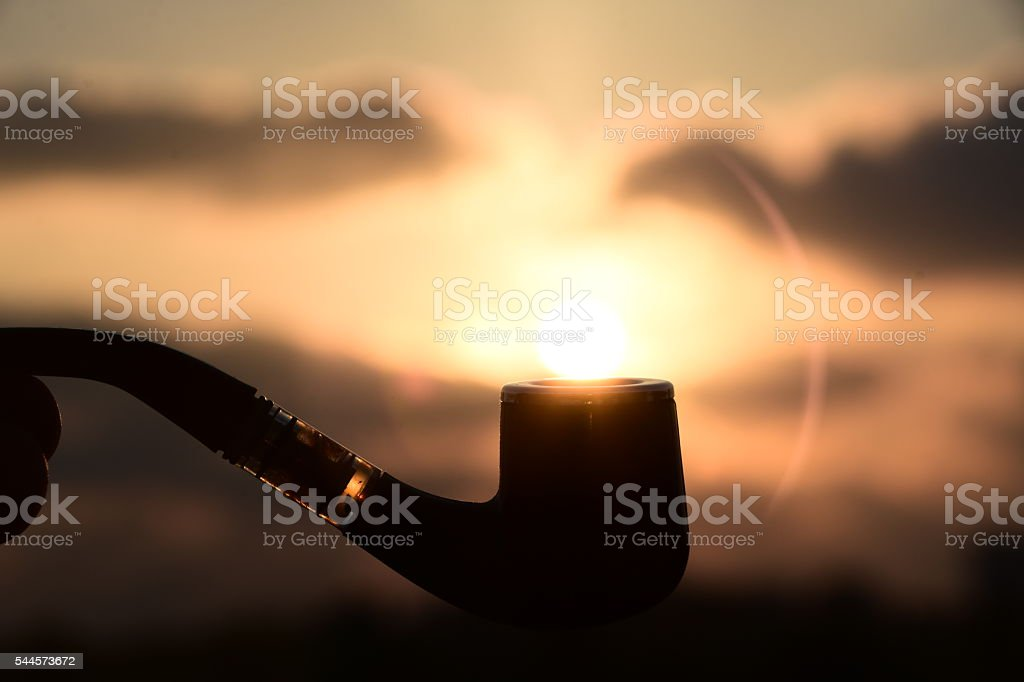 Smoking Pipe Silhouette stock photo