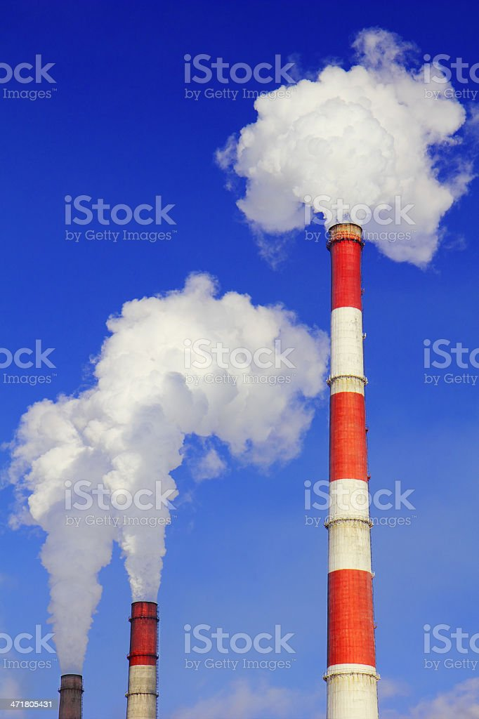 Smoking pipes of thermal power station royalty-free stock photo