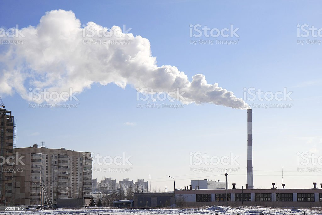 Smoking pipes of thermal power station stock photo