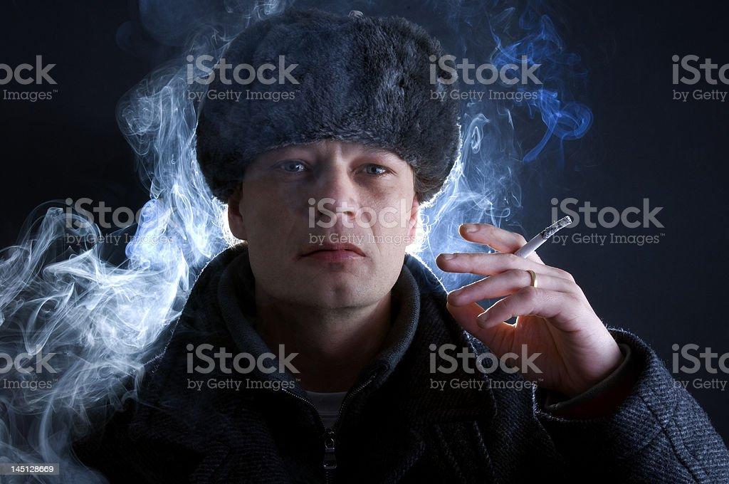 Smoking Russian royalty-free stock photo
