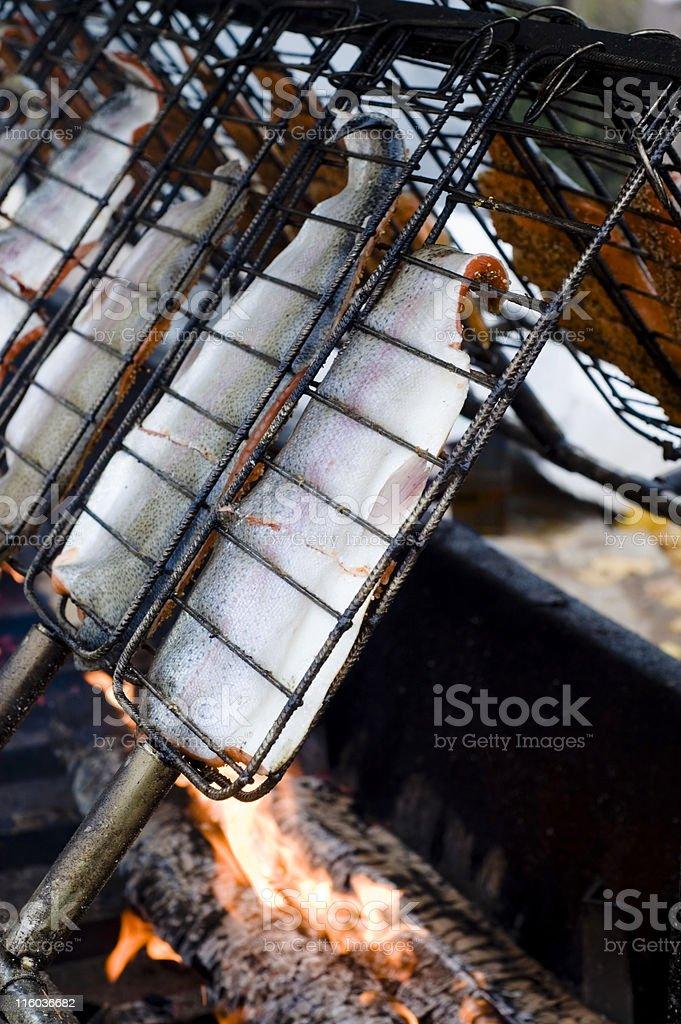 smoking salmon royalty-free stock photo