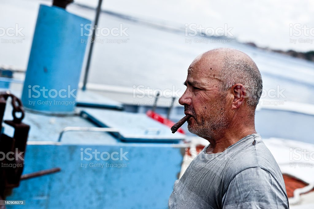 Smoking Seaman stock photo