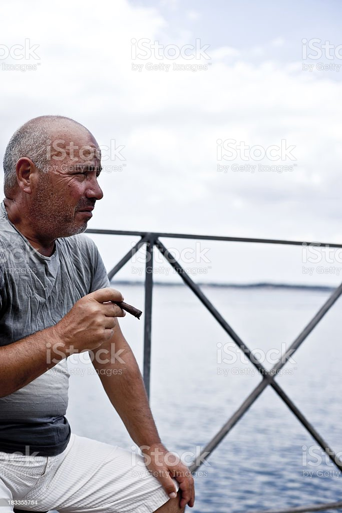 Smoking Seaman Portrait stock photo