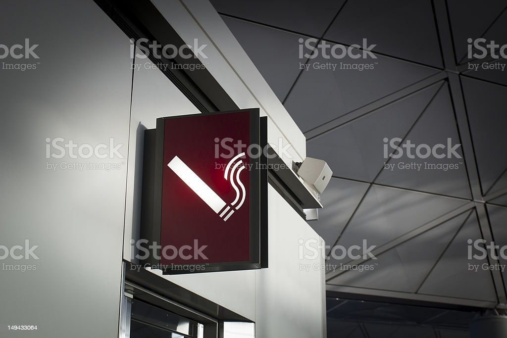 Smoking sign in Airport stock photo