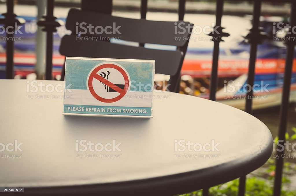smoking sign in coffe shop stock photo