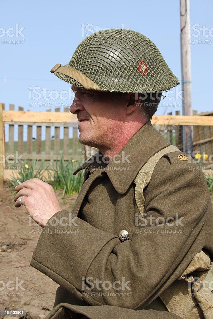 Smoking Soldier. royalty-free stock photo
