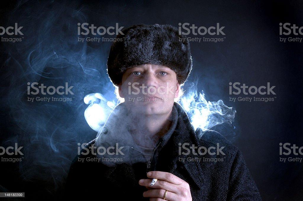 Smoking soviet royalty-free stock photo