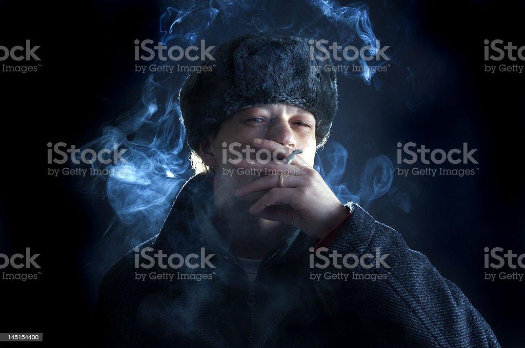 Smoking Soviet stock photo