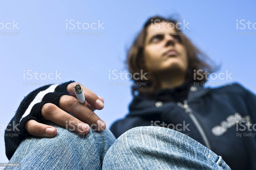 Smoking Teenage Girl stock photo