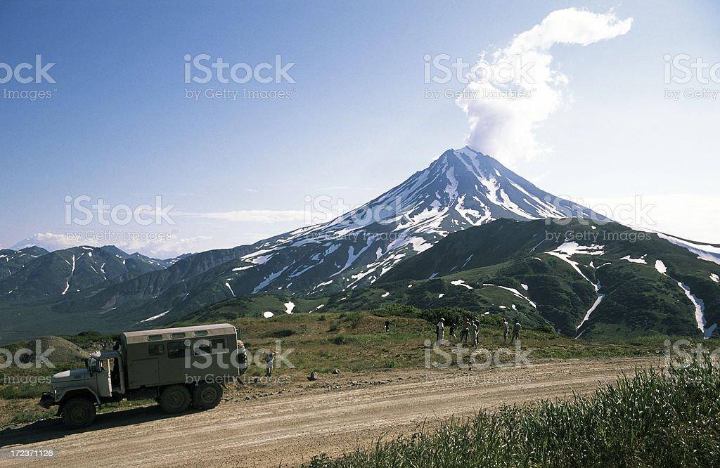 Smoking volcano royalty-free stock photo