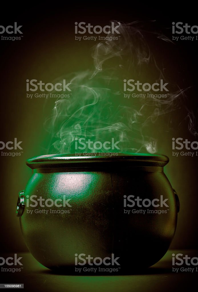 smoking witch's pot stock photo
