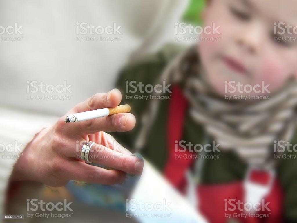 smoking with children stock photo