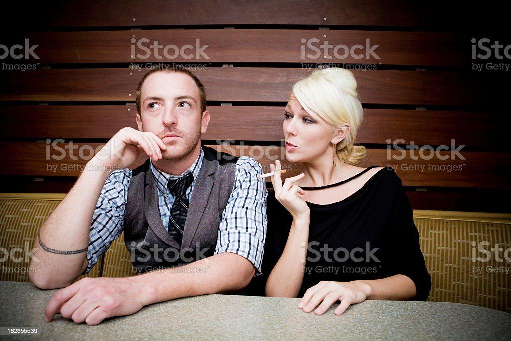 Smoking Woman During Date stock photo