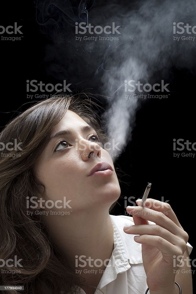 Smoking Woman royalty-free stock photo