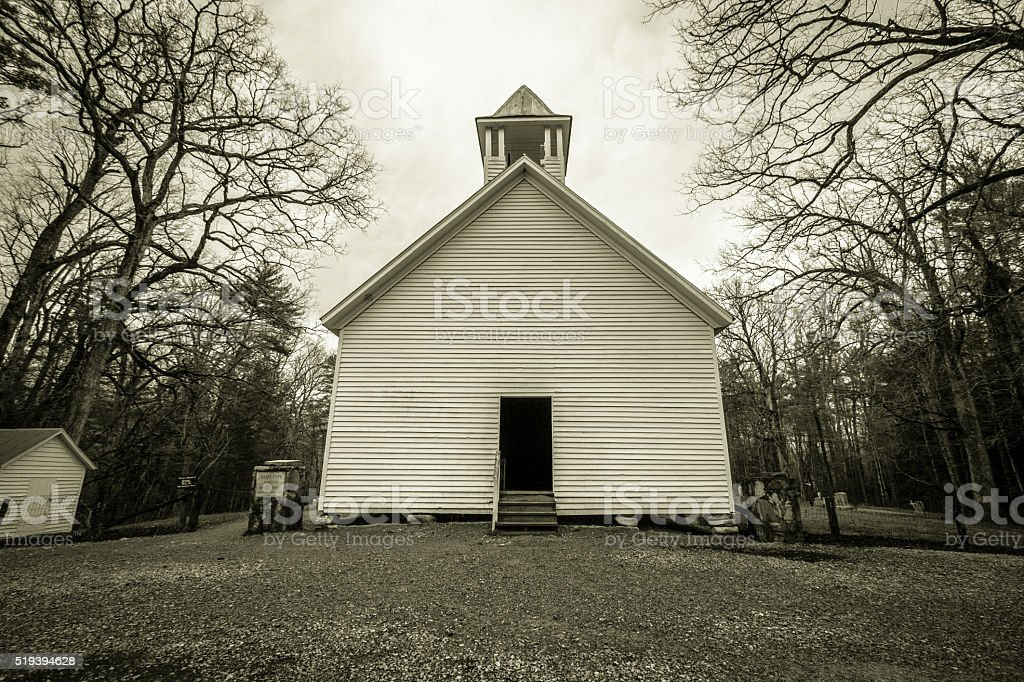 Smoky Mountain Baptist Church In Black And White stock photo