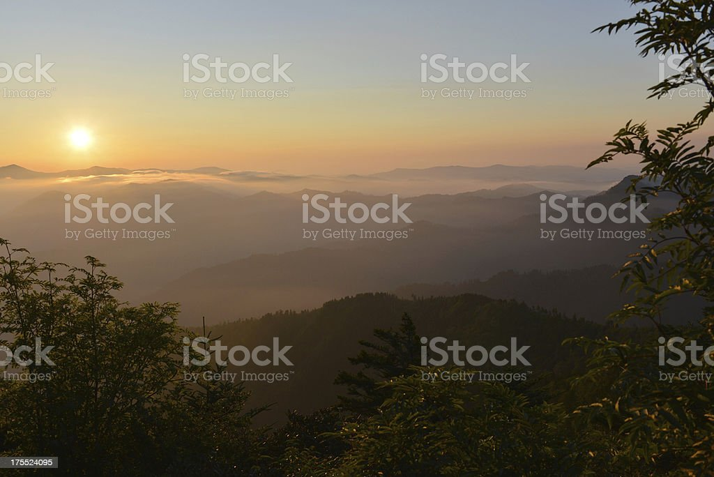 Smoky Mountain morning sunrise from Mt. LeConte stock photo