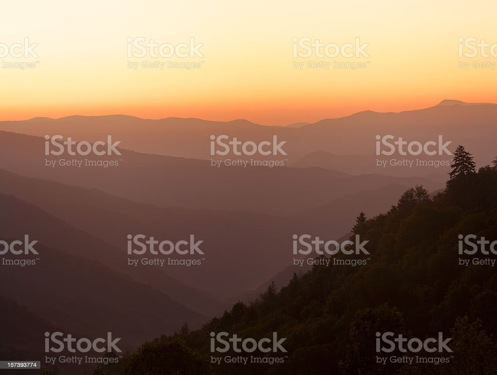 Smoky Mountain Sunrise stock photo