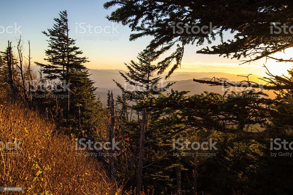 Smoky Mountain Sunset Landscape At Clingman's Dome stock photo