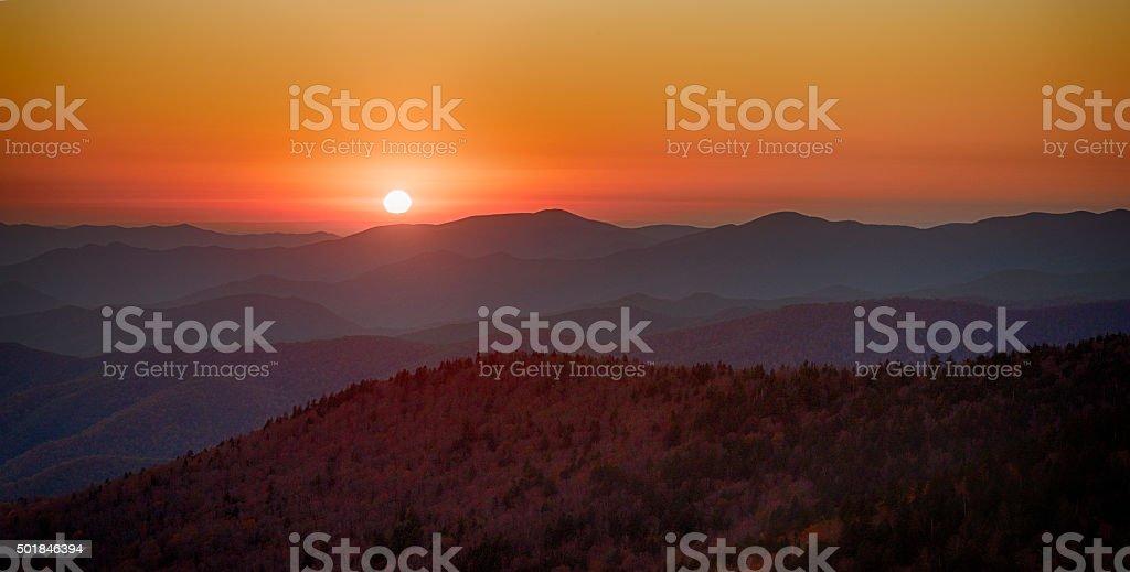 Smoky Mountain Sunset Panoramic stock photo