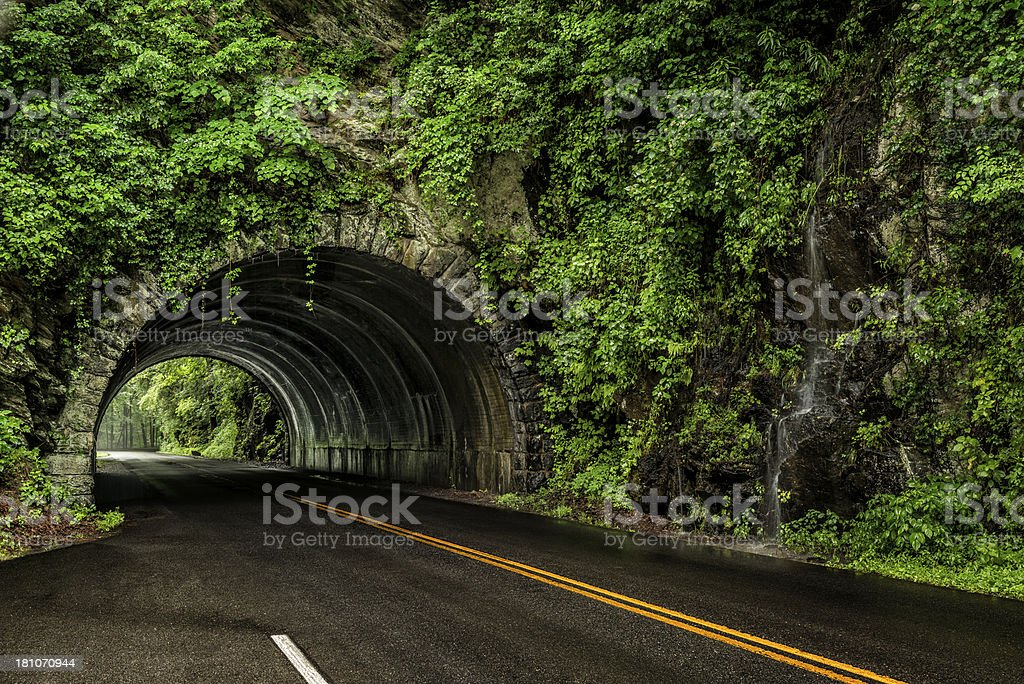Smoky Mountain Tunnel In The Rain royalty-free stock photo
