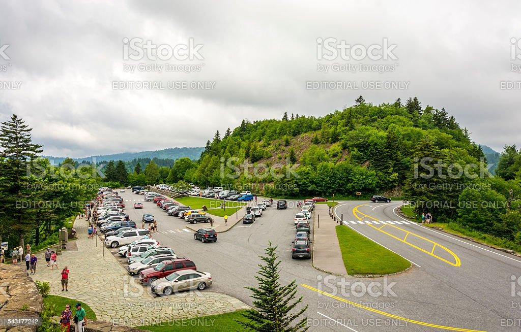 Smoky Mountain Visitors Car Park stock photo