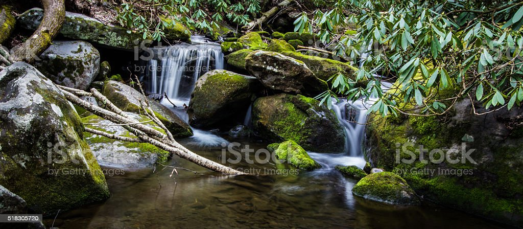 Smoky Mountain Waterfall Panorama stock photo