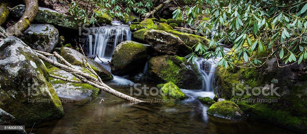 Smoky Mountain Waterfall Panorama stock photo