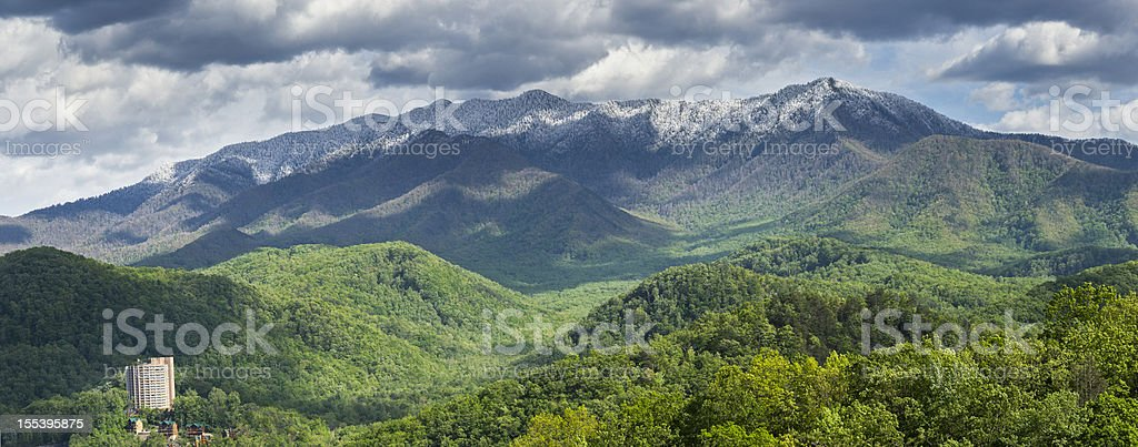 Smoky Mountains Springtime Panorama stock photo