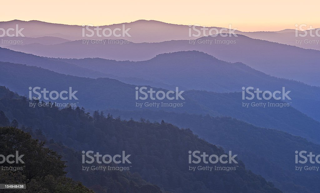 Smoky Mountains Sunrise or Sunset stock photo