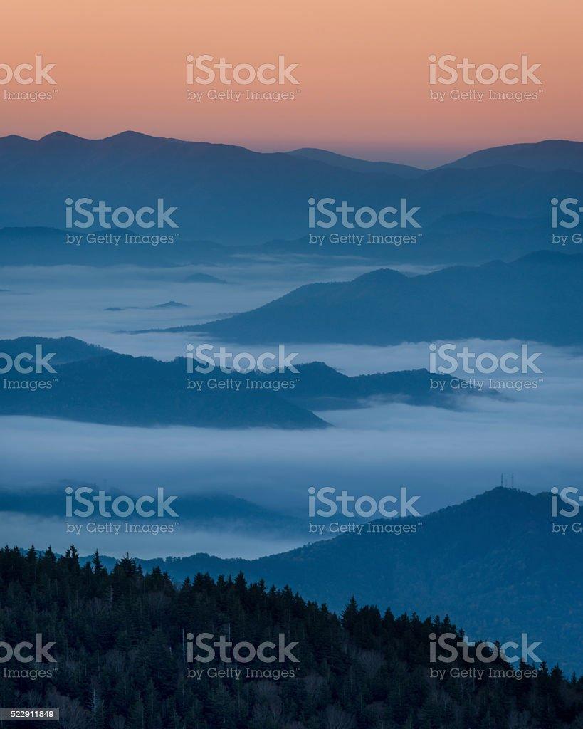 Smoky Mountains Sunset stock photo