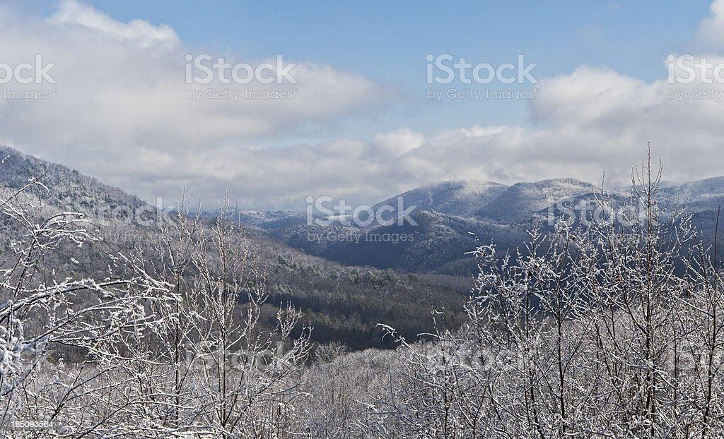 Smoky Mountains Winter Panoramic stock photo