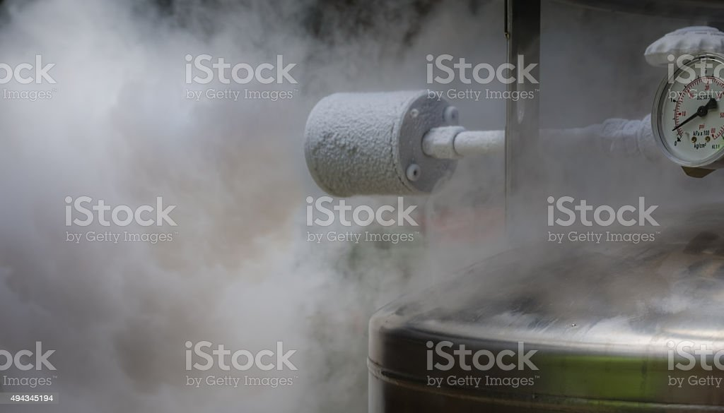 Smoky nitrogen gas discharge stock photo