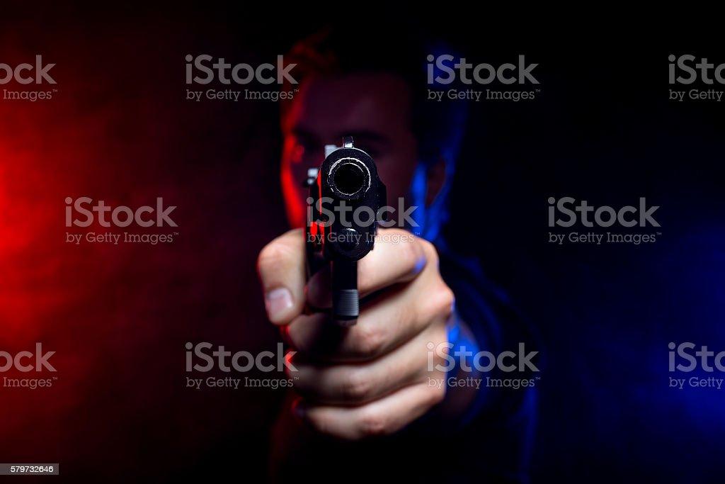 Smoky Police Shootout stock photo