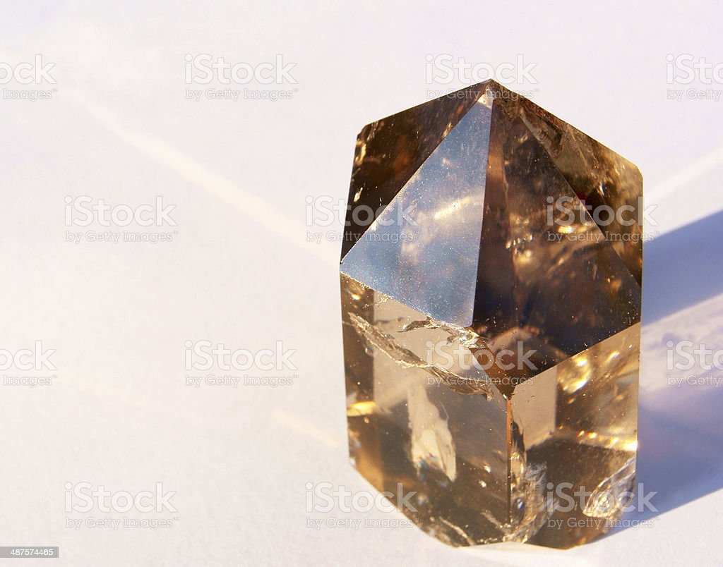 Smoky Quartz Crystal in Sun stock photo