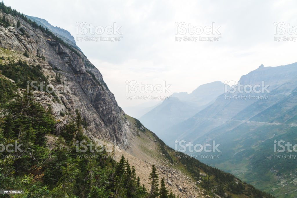 Smoky Valley at Glacier National Park stock photo