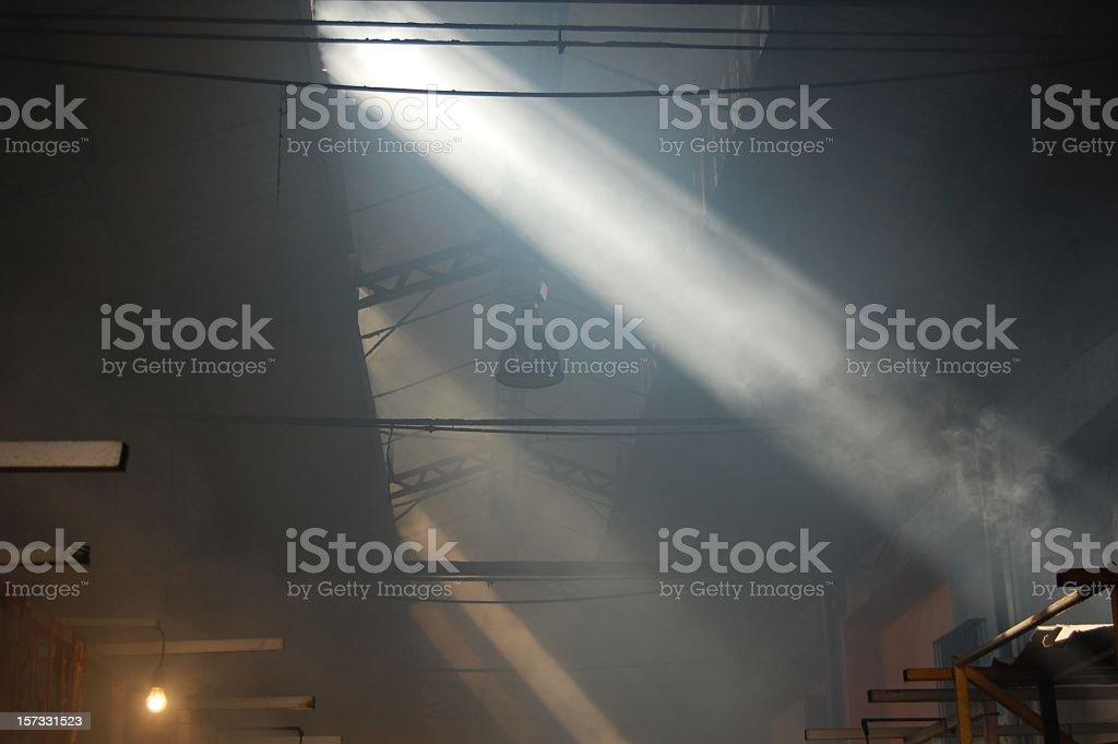 Smoky Warehouse royalty-free stock photo